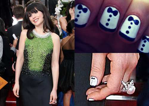 Zoey Deschanel, unhas curtas com nail art.